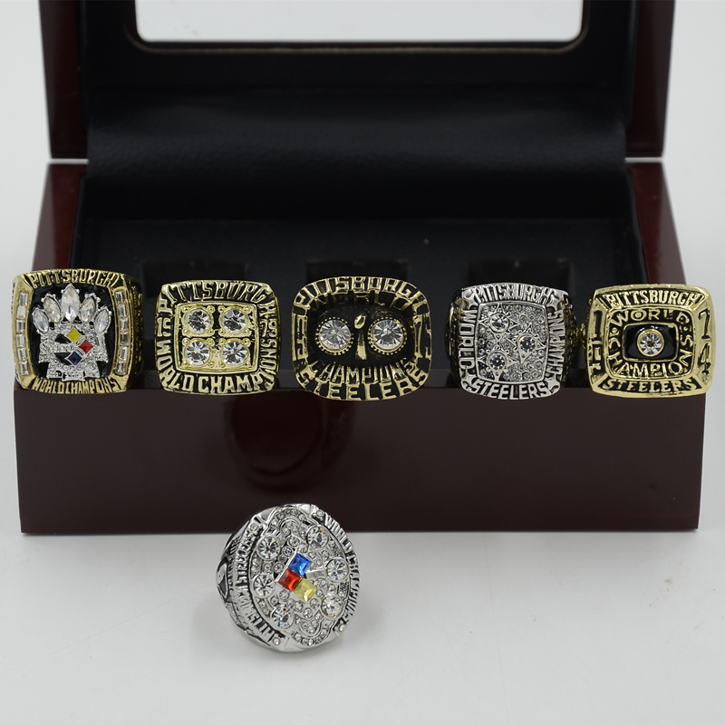 One set Alloy (7PCS) Pittsburgh Steelers Championship Ring 1974 1975 1978 1979 2005 2008 Replica Super Bowl Football Rings HC50(China (Mainland))