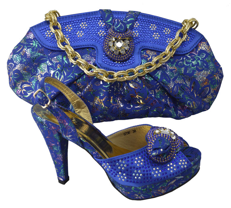 Blue 2015 Fashion Design African High Heel Shoes And Bag Set Luxury Italian Style Shoes