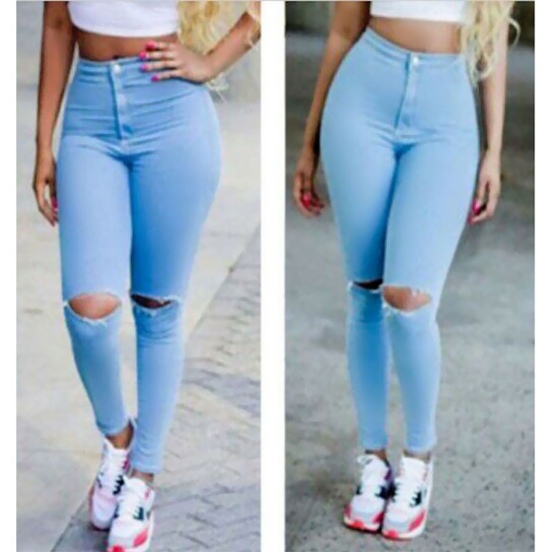 2015 High Waist Jeans Women Skinny Pencil Pants Denim Ripped Boyfriend Jeans With Holes For Woman bodycon sexy skinny jeans(China (Mainland))
