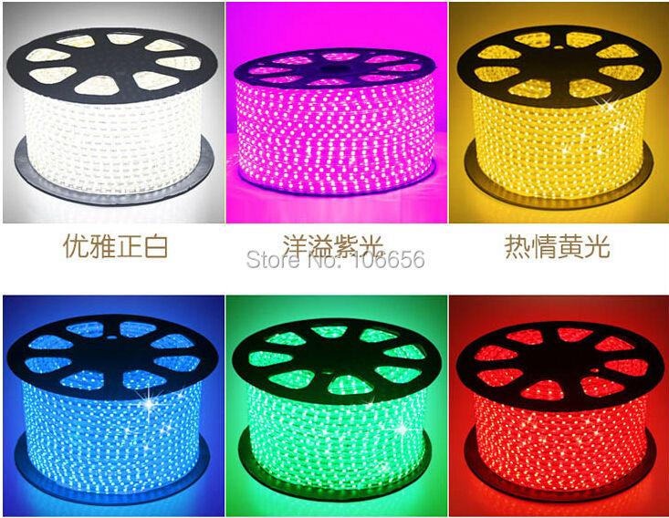 100m/lot outdoor ip67 led strip 220v SMD 5050 60led/m RGB(China (Mainland))