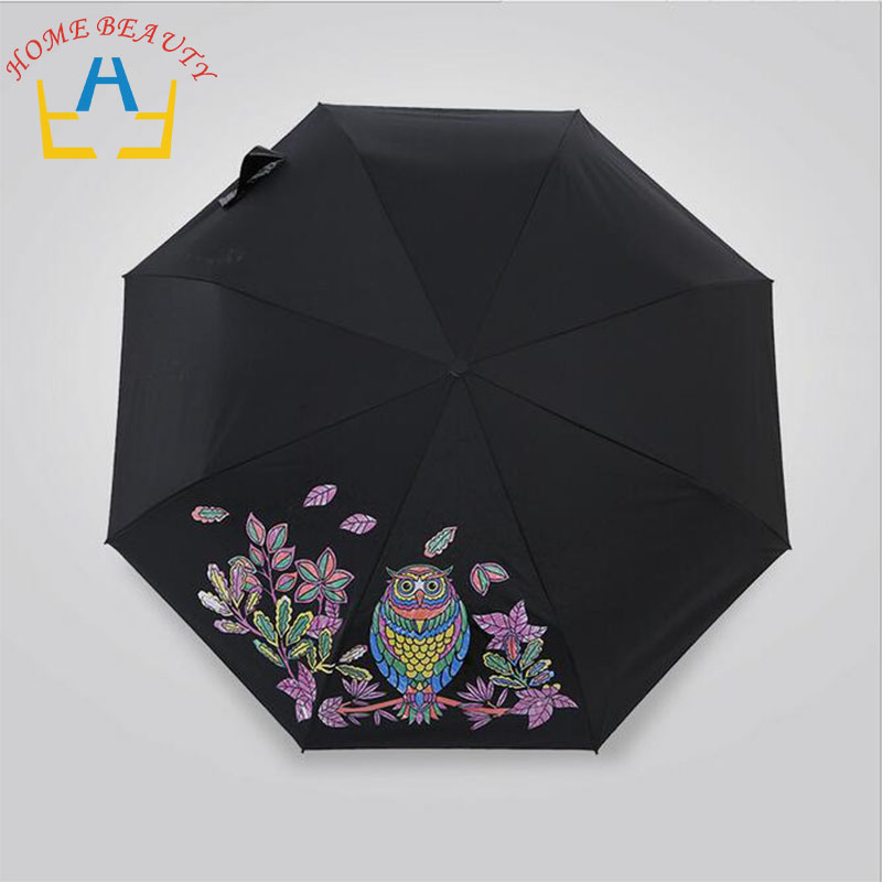 8k 3 fold sun rain umbrellas high quality solid black color changing rain tools woman man umbrella for female and male FH177(China (Mainland))