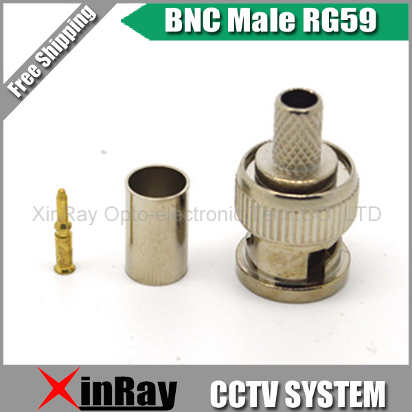 Freeshipping BNC male crimp plug for RG59 coaxial cable, RG59 BNC Connector BNC male 3-piece crimp connector plugs RG59 AC23(China (Mainland))