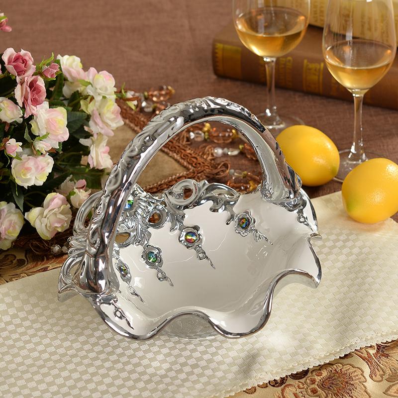 Cristal de diamante de cer mica cesta de frutas for Frutas ornamentales