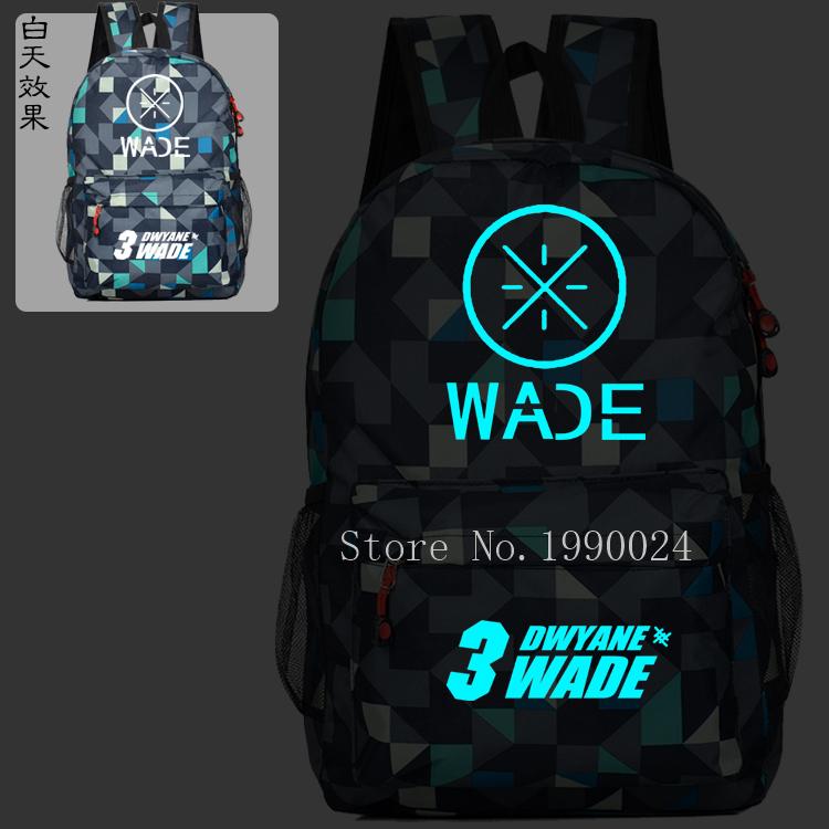 Dwyane Wade USA Noctilucent Kids School Book Backpacks Basketball Bag Fashion Shoulder Bag Sports Travel Bag Mochila Escolar(China (Mainland))