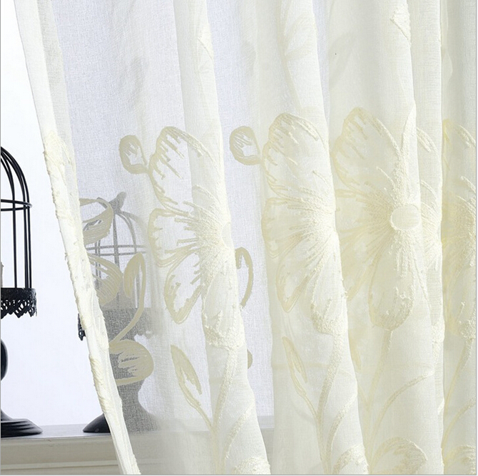 Korean style sheer curtain panel plant embroidery cotton for Window cotton design