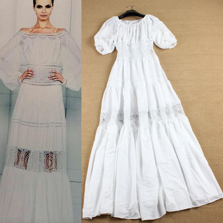High Quality 2014 Womens European American Brand Runway Fashion Slash Neck Dresses , Puff Sleeve White Evening Dress Одежда и ак�е��уары<br><br><br>Aliexpress