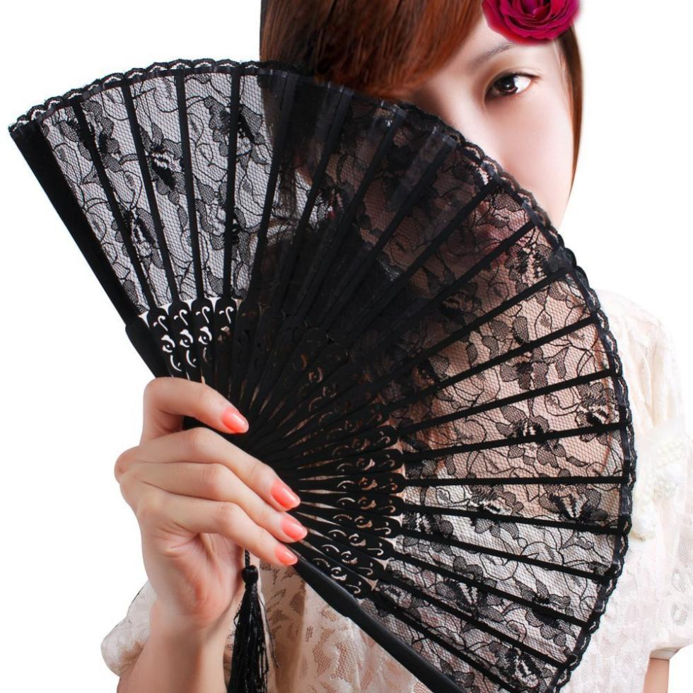 Vintage China Tranditional Lady Handheld Fan Costume Party Wedding Dancing Folding Flower Lace Hand Beautiful Decoration - eKing store