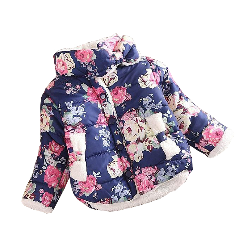2016 girls warm coat baby winter long sleeve flower jacket children cotton-padded clothes kids christmas outwear a-079(China (Mainland))