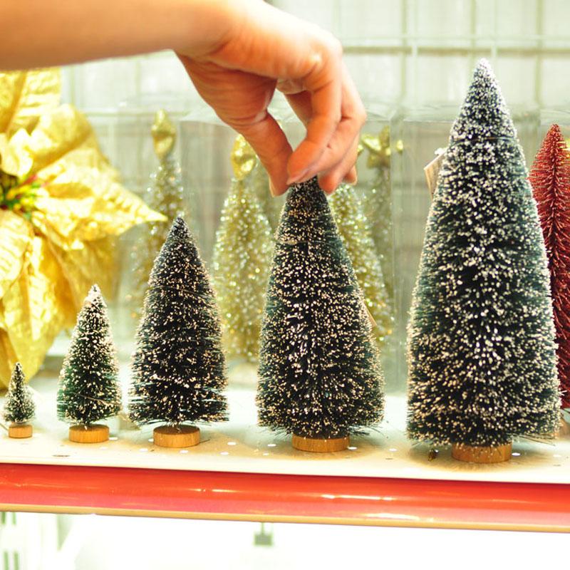 20cm (H) Bottle brush Mini Christmas Trees Snow Wood Base Table Decoration Xmas Tree Gift(China (Mainland))