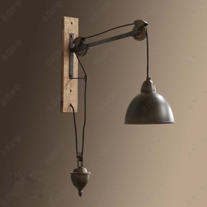 Buy loft retro lusent iron spindle pulley for Living room wall lights