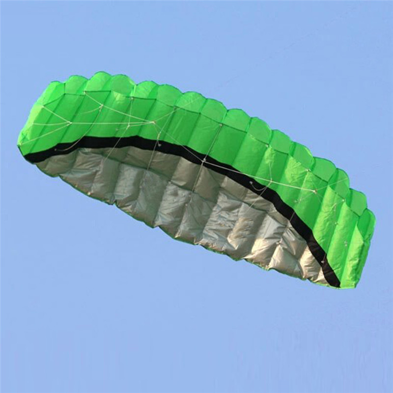 2.5m Dual Line Stunt Parafoil Kite Power Soft Kite 2 x 30m Lines Winder Outdoor Fun Toy Beach Kites(China (Mainland))