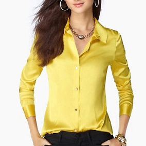 S-XXXL women Fashion silk satin blouse button ladies silk blouses shirt casual office White Black Blue Yellow long sleeve top(China (Mainland))