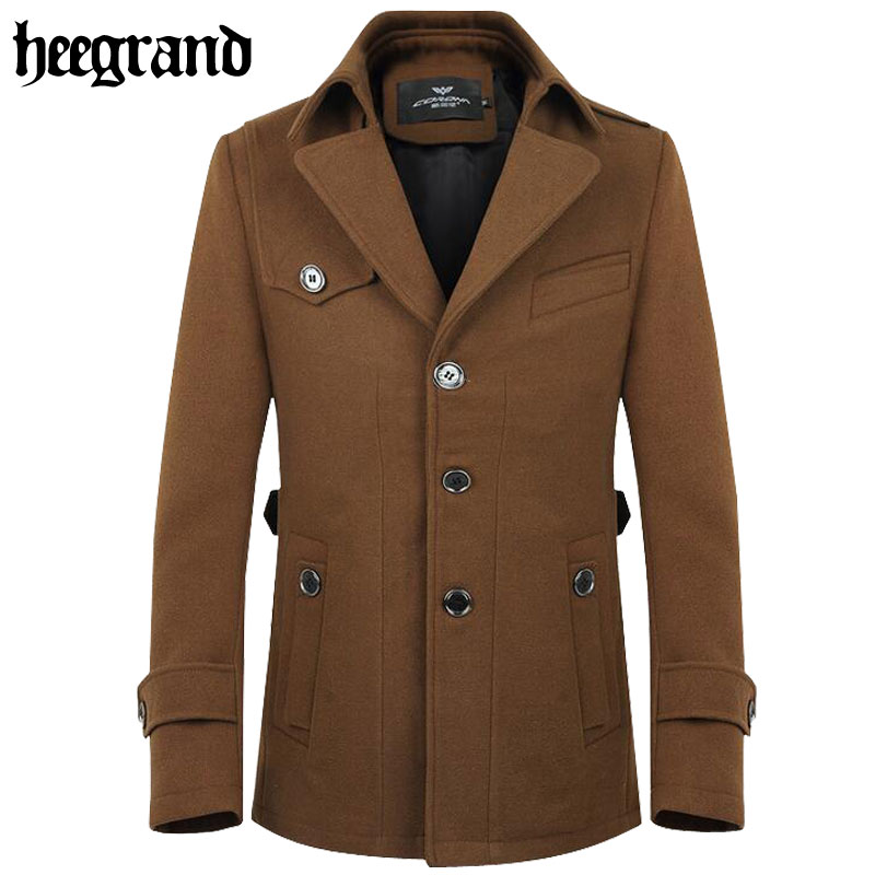 2016 New Autumn Trench Coat Men Single Breasted Fashion Turn-down Collar Trench Coat Brand High Quality Windbreaker Male MWJ1366