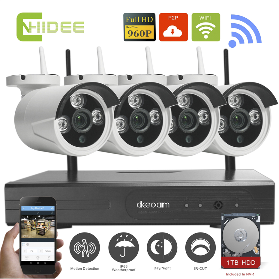 Cnhidee WIFI CCTV System 4ch HD Wireless NVR kits bullet IP Camera 960P CCTV Camera Home Security System video Surveillance Kits(China (Mainland))