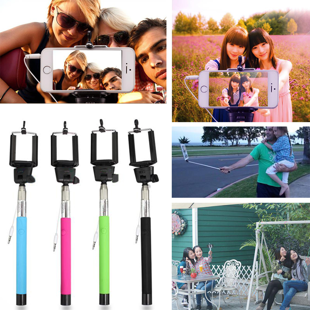 Monopod Selfie Stick Wired Handheld Extendable + Phone Camera Self Portrait Holder For iPhone Samsung IOS Android(China (Mainland))