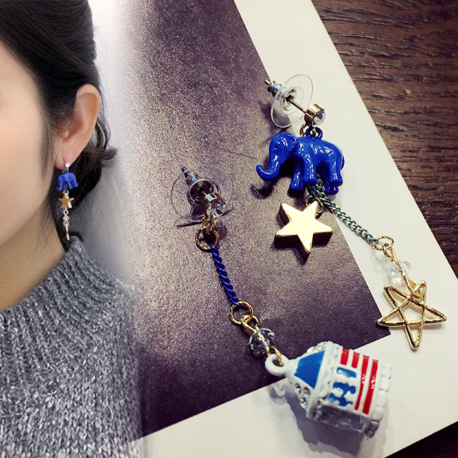 The circus elephant AB version of Star Crystal fashion Korea Korean jewelry earrings earrings female ear ring(China (Mainland))