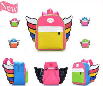 New Arrival Girls Boys schoolbags Angel Wings Backpacks Children Cartoon Bag Nylon Baby School Backpack Kids Bag(China (Mainland))