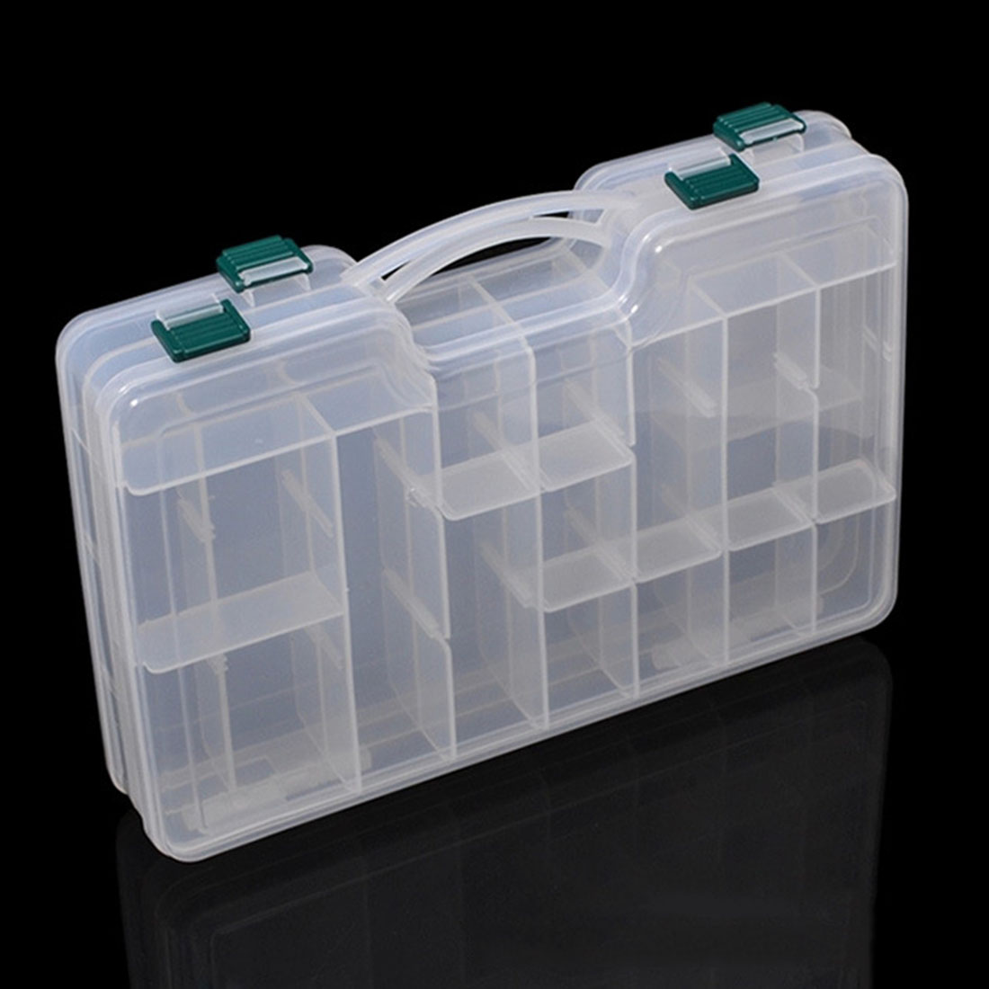 20 Slots 2 Layers Plastic Detachable Fly Fishing Lure Tackle Box Double Sided High Strength Transparent Visible with Drain Hole(China (Mainland))