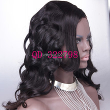 Natural Color Virgin Peruvian Hair Body Wave With Bang 1″X4″ Left Side U Part Wig 130% Density Free Shipping By DHL
