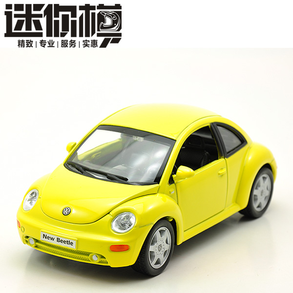 New Volkswagen Beetle Large 1:24 Diecast Model Car Yellow Toy collection B121b(China (Mainland))