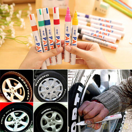 12 Colors Waterproof Car Tyre Tire Tread Rubber Metal Permanent Paint Marker Pen 4E1Y(China (Mainland))