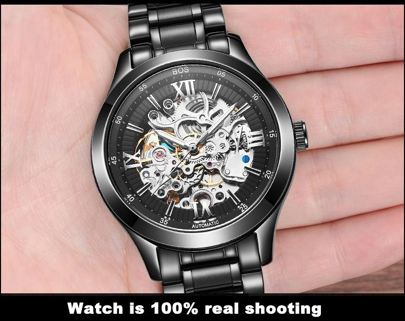 ANGELA BOS Skeleton Automatic Watch Mens Mechanical Black Stainless Steel Waterproof Luxury Watch Men Famous Brand Wristwatch