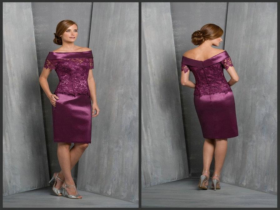 Zz327 красивая с коротким рукавом длиной до колен матери невесты платья 2016 аппликации атласные мать невесты платья