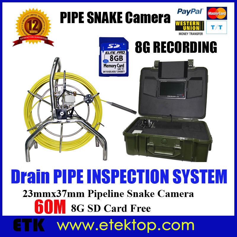 Video Snake Plumbing Pipe and Wall Inspection Color Camera System With 60M Cable and Wheel Brake DVR Recoder Drain Swer Camera(China (Mainland))