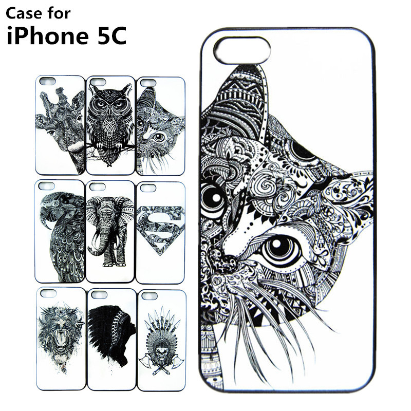 Whloesale Cases For iPhone 5C VTG STYLE HEAD CASE AZTEC ELEPHANT GIRAFFE ANIMAL HAND DRAWN ANIMAL BACK CASE COVER FOR IPHONE5C(China (Mainland))