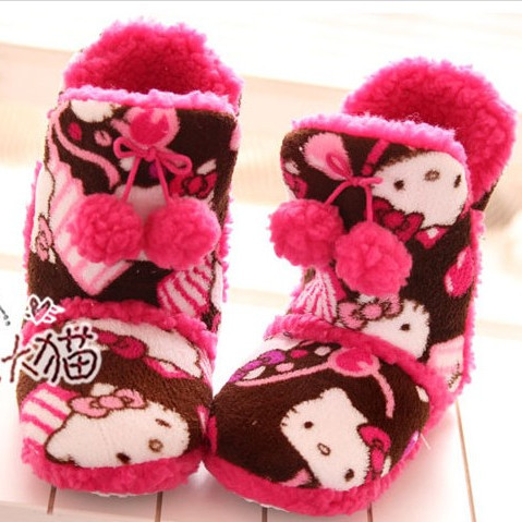 Christmas special paragraph ! kt cat cartoon HELLO KITTY pattern at home plush thermal cotton boots