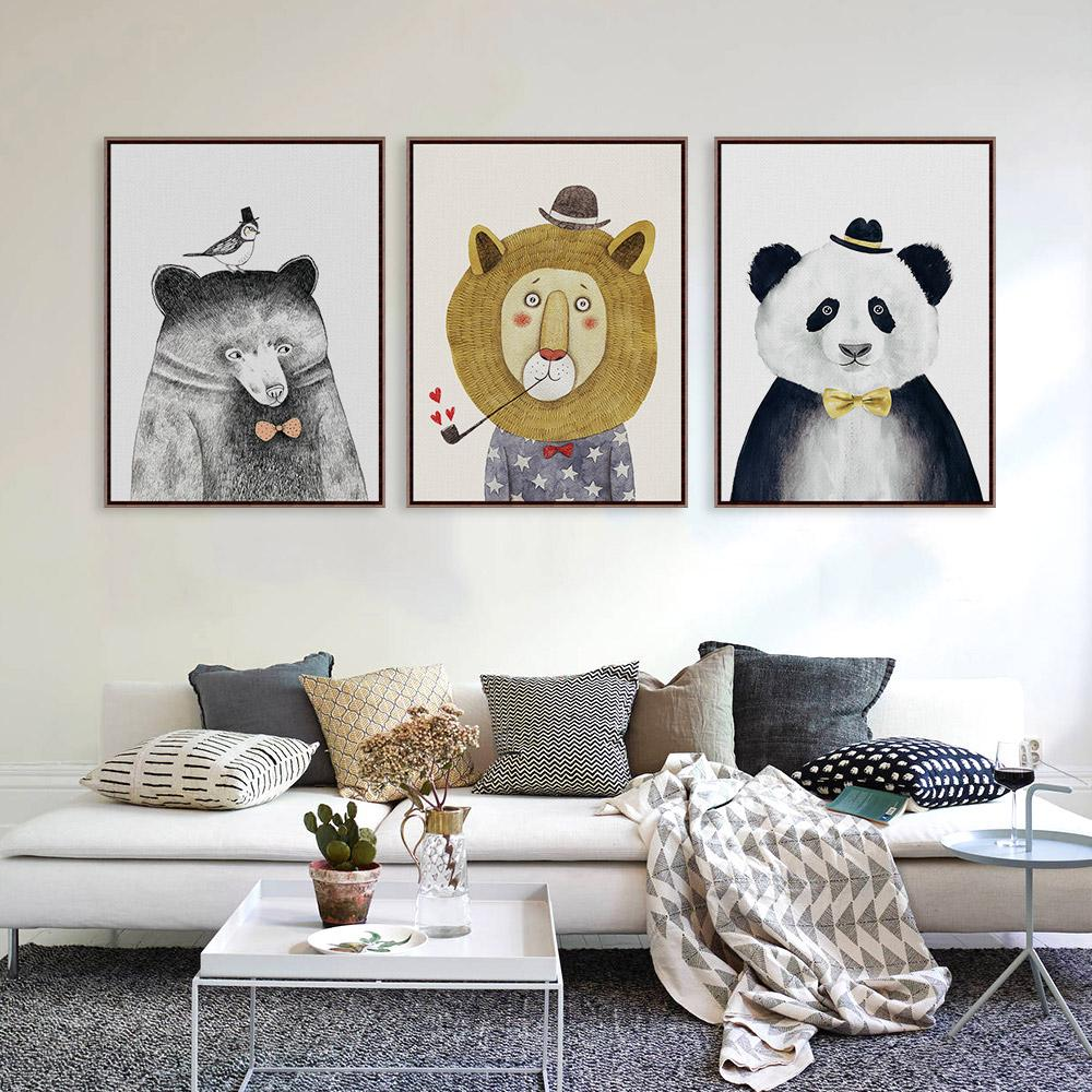 Watercolor Nordic Cartoon Animal Lion Bear Panda Prints Poster Hipster Wall Picture Canvas Painting Kids Room Home Decor Unframe