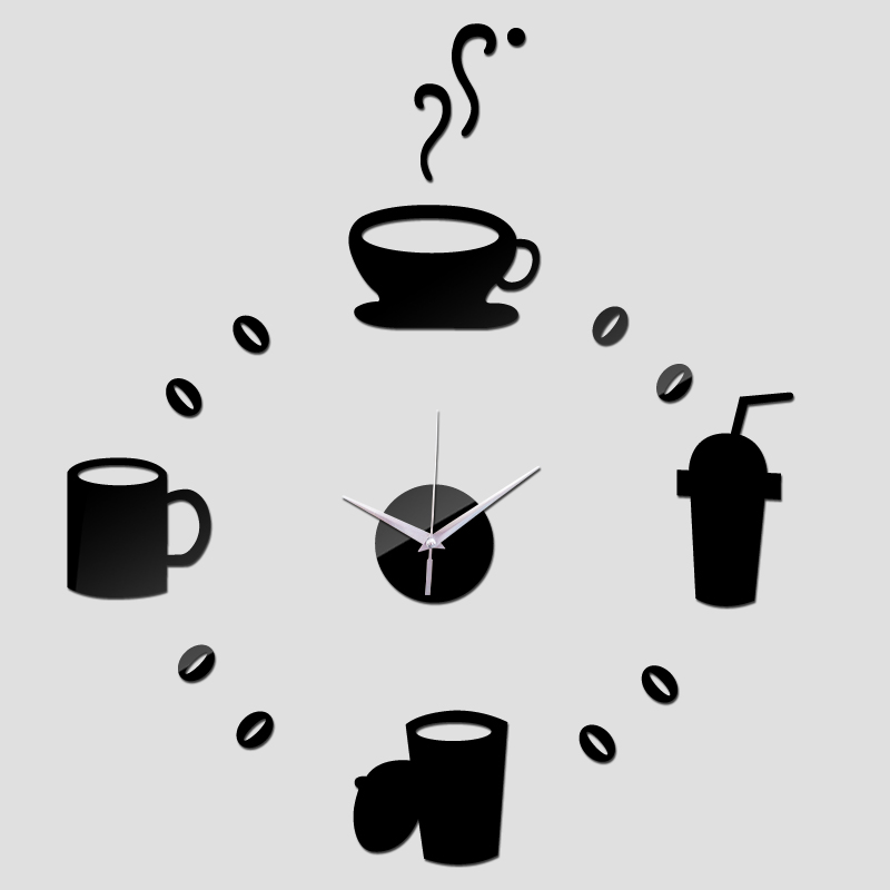 new hot diy wall sticker clocks acrylic mirror multi-piece package coffee stickers for home decoration modern design wall art(China (Mainland))