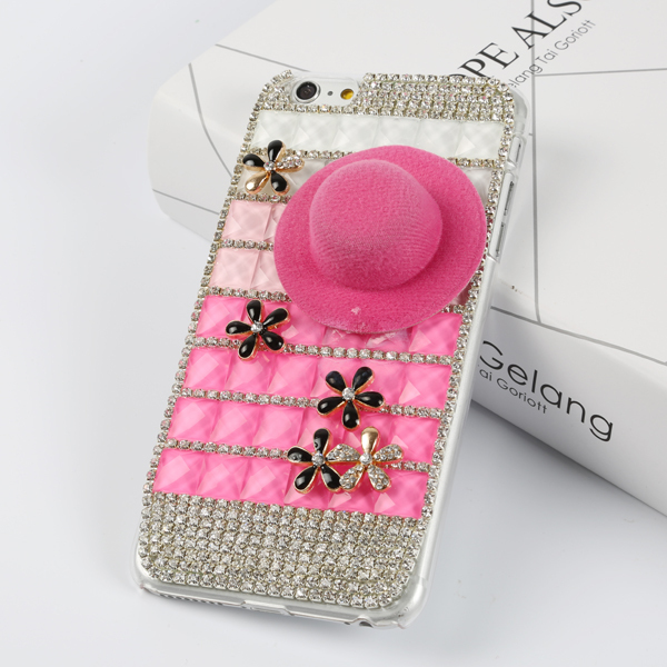 New DIY Handcraft Pink Hat Hard Plastic Cover for iphone 6 plus Case Rhinestone Transparent Protective Case for iphone 6 plus(China (Mainland))