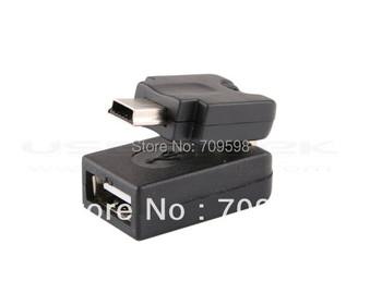Free Shipping 1PCS /Lot 360 Dgree Rotating car audio usb mini usb  TO USB  Charger adapter mini usb