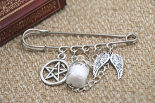 12pcs Supernatural inspired protection themed charm with chain kilt pin brooch (50mm)