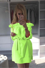 Women Neon Green Dress 2016 Cute Ruffles Slash Neck Bow Belt Pin Up Dress Puff Sleeve Kawaii Short Dress Women Summer Dress(China (Mainland))