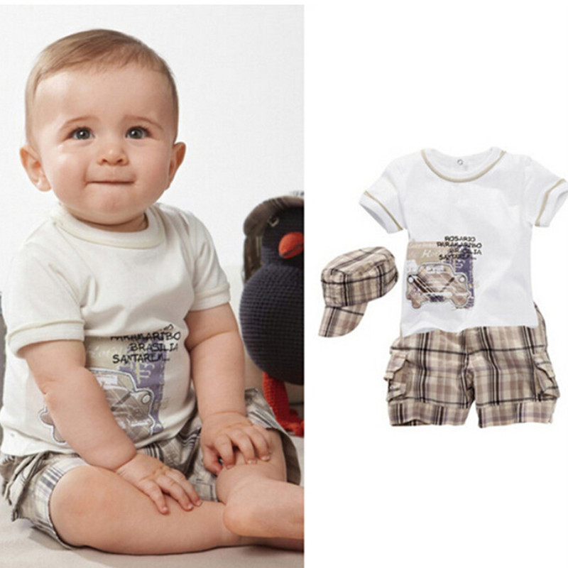 Baby Boy Clothes Sets 2016 Summer Cotton Car Print Top Tshirt And Stripe font b Chequer