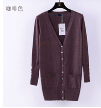2015 New fashion Spring ZA women's sweater V-neck shell button knitted sweater ladies' Cardigan CandyColor XL sweater knitwear(China (Mainland))