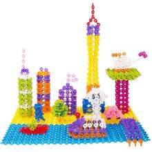 2016 Hot Sale 100Pcs Child Kid Plastic Multicolor Snowflake Assembling Building Blocks Educational Toy Gift For Children(China (Mainland))