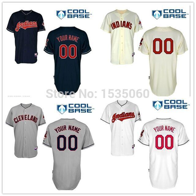 "Personalized Cleveland Indians youth jersey custom mlb baseball jerseys kids Customized Note ""Custom Name, Number"" on the order(China (Mainland))"