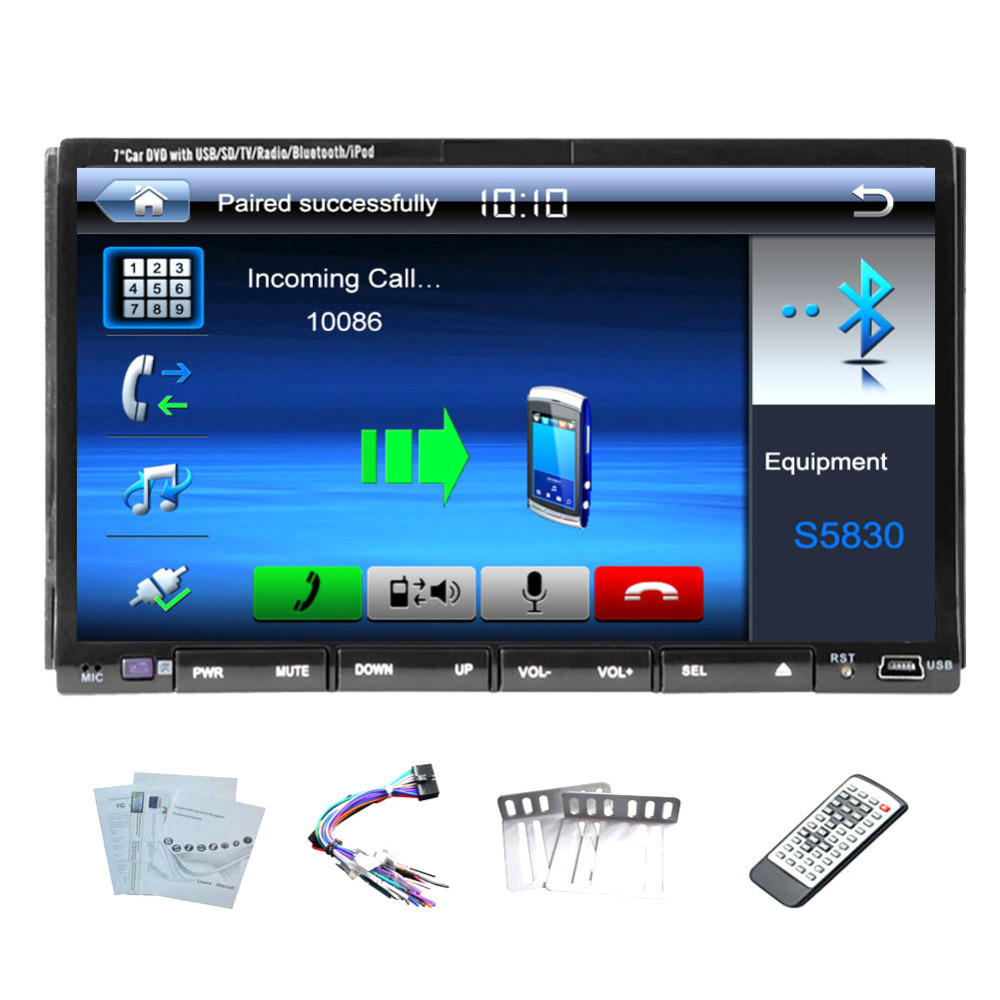 Hd digital 7 quot touch screen car dvd cd video player in dash double 2 din car stereo radio player