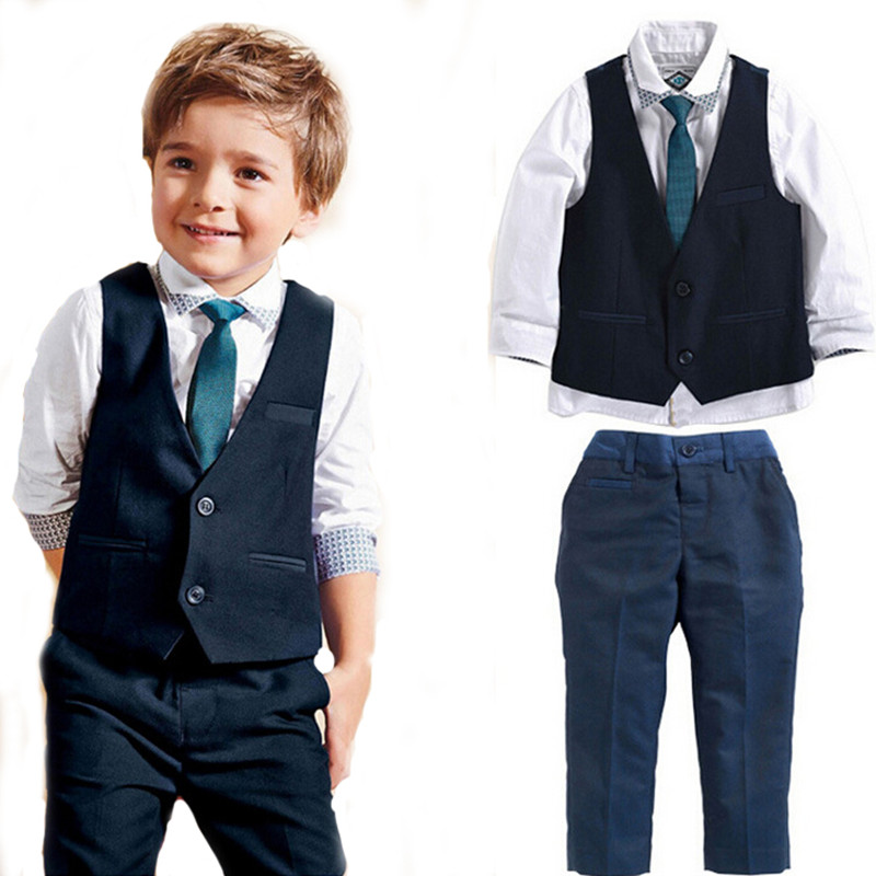2016 Spring childrens clothing sets kids baby boy suit vest gentleman clothes for weddings clothing<br><br>Aliexpress