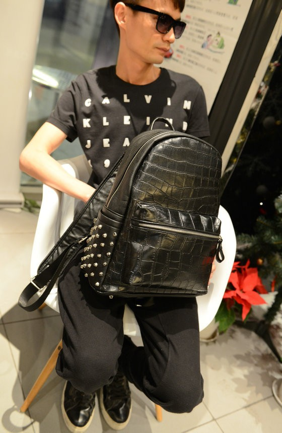 2015 New Style Men's And Women's Travel Bag Backpack Crocodile