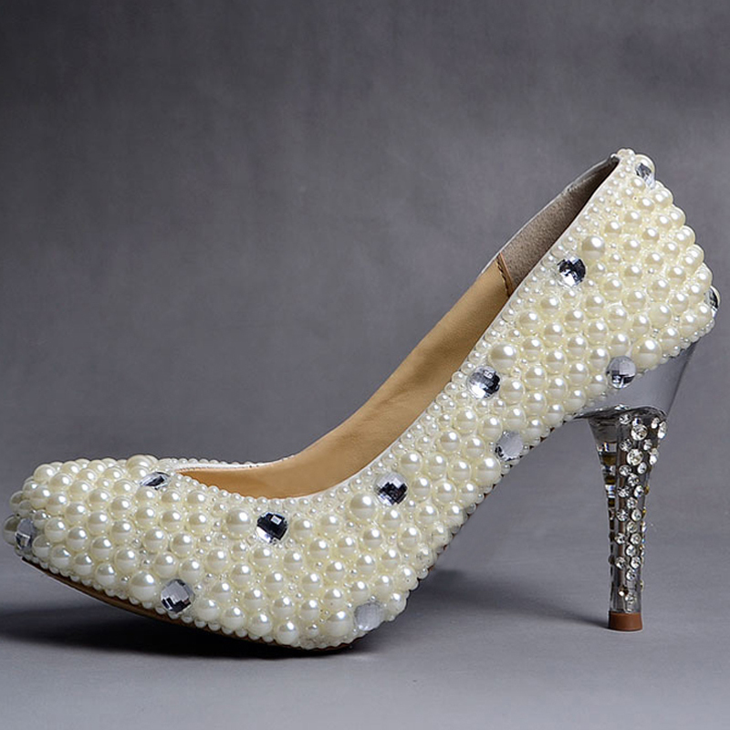Wholesale 2015 new U.S. White Handmade Pearl Crystal Diamond Bridal Wedding Shoes Ultra High Heel Elegant Fashion Bridal Shoes(China (Mainland))