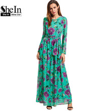 SheIn Floral Beach Dresses Self-Tie Rose Print Long Sleeve Chiffon Dress Summer Spring Womens A Line Maxi Dress(China (Mainland))