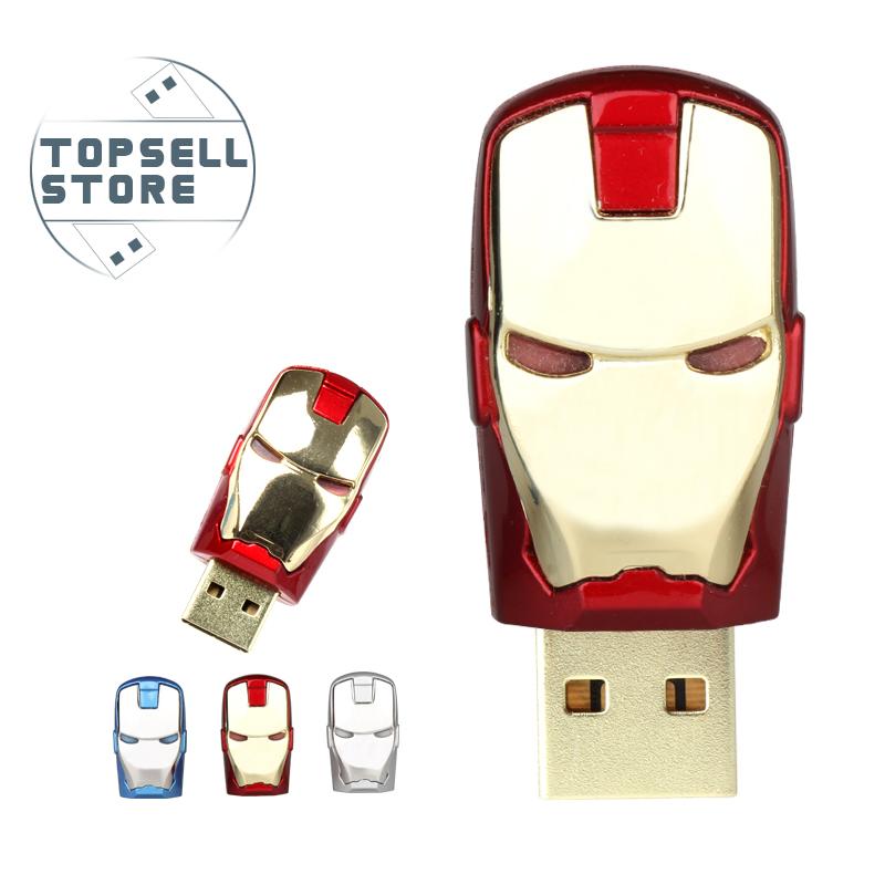Гаджет  Real capacity Avengers Iron Man Metal usb flash drive 8GB16GB32GB USB 2.0 Flash Memory Stick Drive pen drive Top rated Seller None Компьютер & сеть