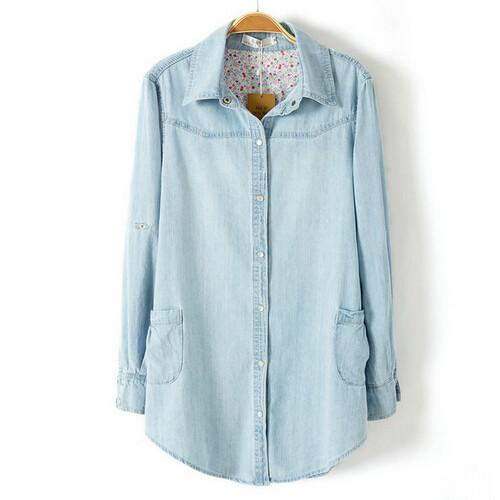 Camisa jeans feminina 2014 new light blue women blouses for Ladies light denim shirt