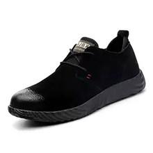 Marka domuz cilt çelik toecap erkek kadın güvenlik botları artı boyutu 37-45 bahar sonbahar rahat hafif iş ayakkabısı(China)