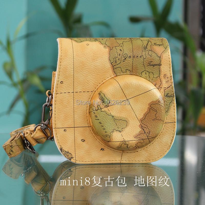 Fujifilm Instax mini 8 Case Instax Camera Bag vintage case instax mini 8 leather case strap map world Free Shipping
