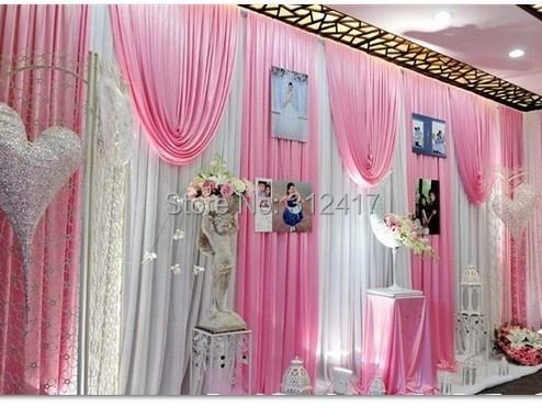 elegant white and pink baby shower backdrop swag wedding backdrop